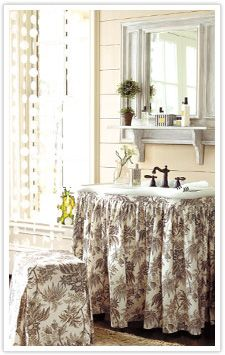 Sink Skirt and other decorating ideas: Skirts Sinks, Decor Ideas, Black And White, Black White, Bathroom Ideas, Bathroom Decor, Sinks Skirts, Powder Rooms, French Country Bathroom