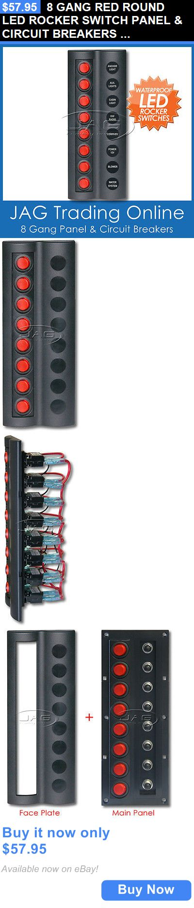 boat parts: 8 Gang Red Round Led Rocker Switch Panel And Circuit Breakers -Boat/Marine/Caravan BUY IT NOW ONLY: $57.95