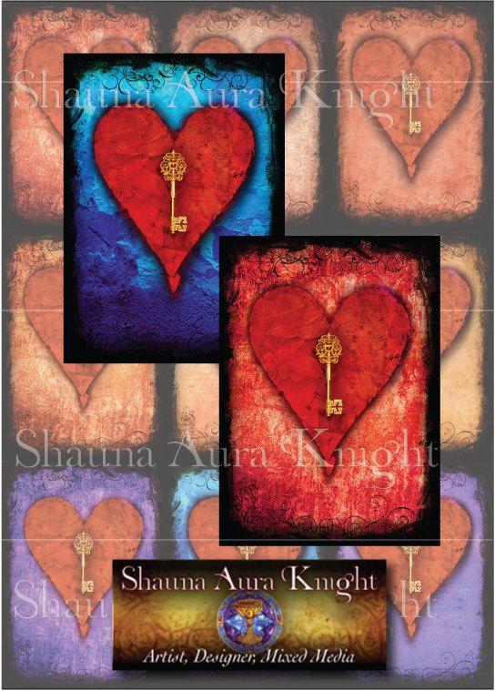 Valentine Key Hearts ATC 2.5 x 3.5 Inch Digital Collage Instant Download Printables Scrapbook Backgrounds Antique Paper Grunge Cards