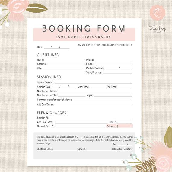 Photography Forms | Client Booking Form Template for Photographers: Modern Style  Offer your clients a way to sing up for one of your photo sessions or photography packages with this stunning Client Booking Form for Photographers. It features a lovely modern chic style in pink, white and grey and is fully editable - everything you see can be clicked, moved, and typed in. A list of free fonts used in the template is included in your package.  ✚ Matching forms and templates from the same…