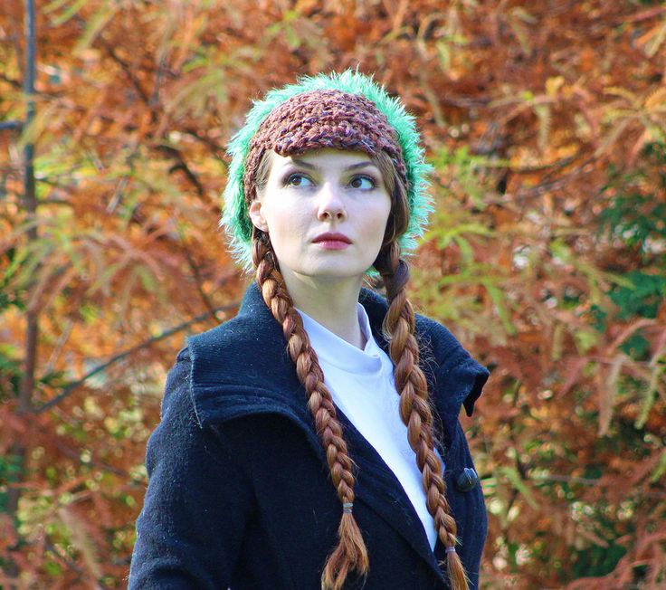 Brown and Green Fuzzy Slouch Tam Hat Billed Newsboy Beanie Girls Winter Hat Great Gift for girl by LeafLee on Etsy