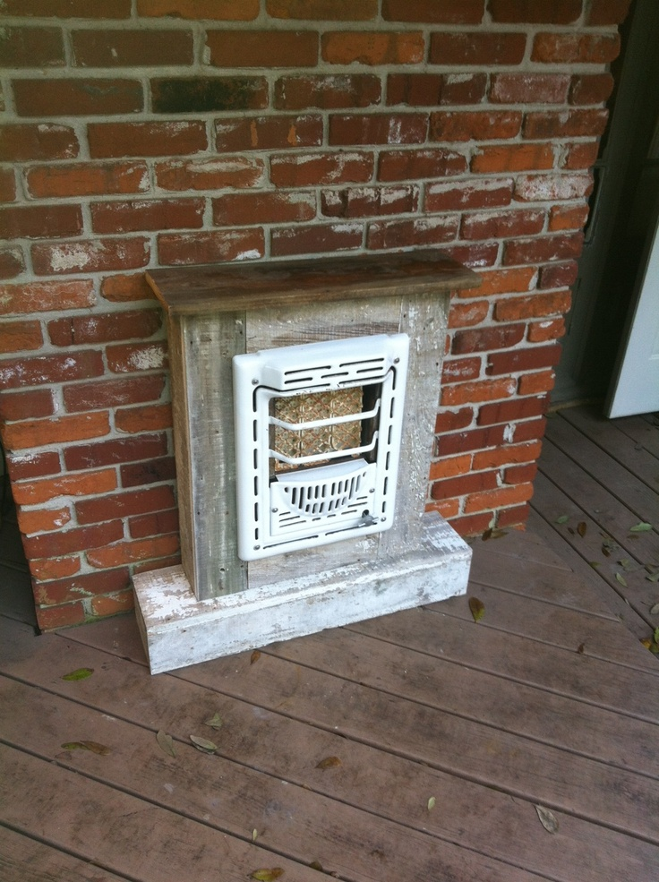 "I took an old, gas wall heater from my grandmother's old house. Then framed it up with a bunch of old wood from the same house.  Just add a propane tank and....voila! An ""outdoor space heater""."