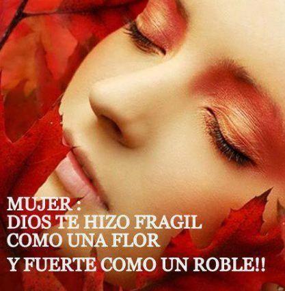 frases para una mujer bella   Mujer: Dios te hizo frágil como una mujer y fuerte como un roble.