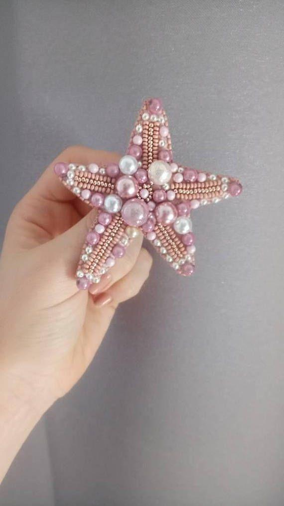 Étoile broche rose perles tchèques star