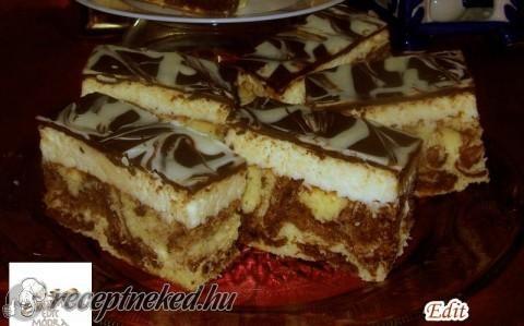 Kókuszkrémes tarka szelet recept fotóval
