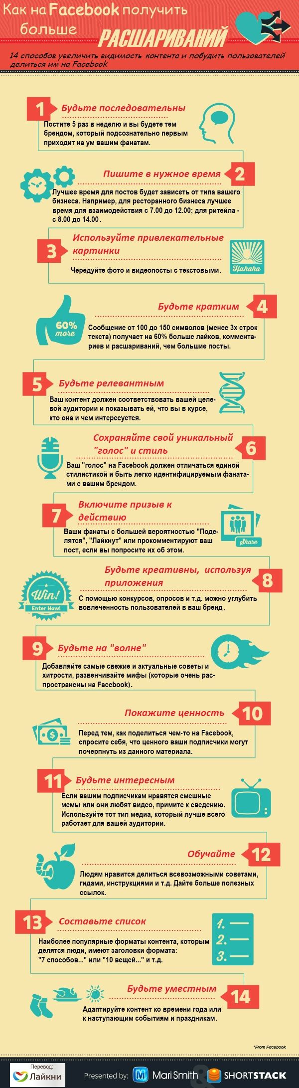 14 tips on how to increase the visibility of content on #Facebook and encourage to share your content #infographics Инфографика: Как получить больше расшариваний на Facebook