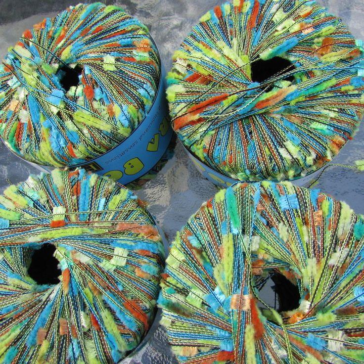 Filati FF Bora Bora Yarn 4 sks Novelty, Short Eyelash, Fuzzy Col 489 Sky, Lemon #FilatiFF #Eyelash