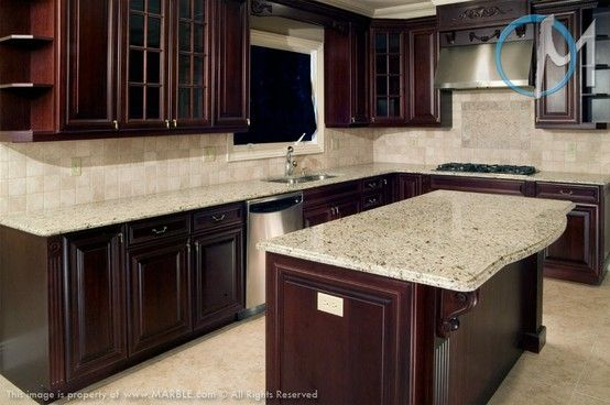 Cherry Cabinets And Giallo Ornamental Granite Redo My