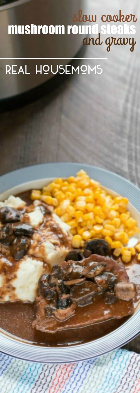 Try this SLOW COOKER MUSHROOM ROUND STEAKS WITH GRAVY for dinner this week. An inexpensive cut of meat made delicious with help from your slow cooker!