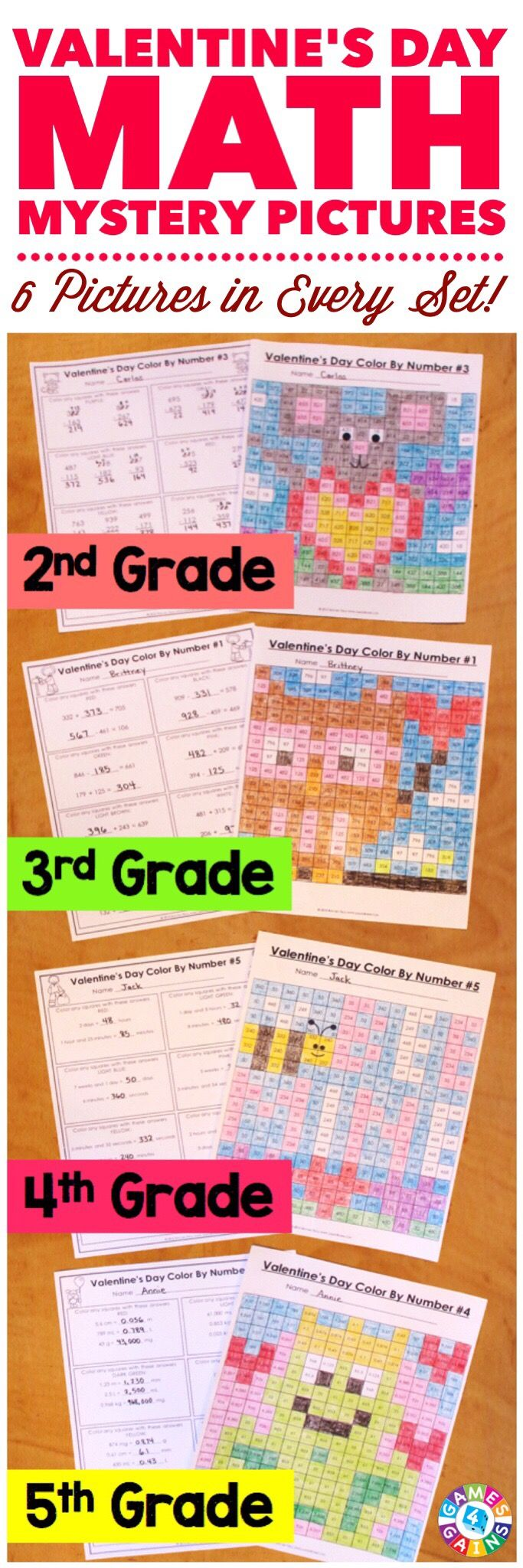 """""""My students LOVE these because they are fun to solve and color! I love them because it is a great review of the skills!"""" These Valentine's Day Math Color by Number Activities are the perfect way to review key math skills taught so far this year. Each set comes with 6 different pictures, and each picture focuses on a different skill. Different versions available for 2nd, 3rd, 4th, and 5th grades."""