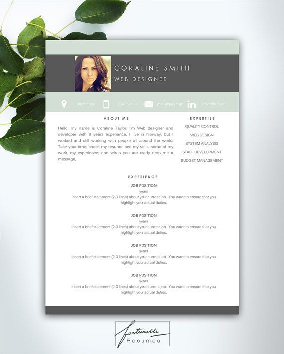 Instant Resume Templates Resume Template 3 Page  Cv Template  Cover Letter  Instant