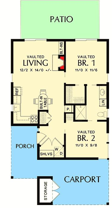 Tiny 2 Bed Modern House Plan - 69629AM | 1st Floor Master Suite, CAD Available, Contemporary, Modern, PDF, Vacation | Architectural Designs