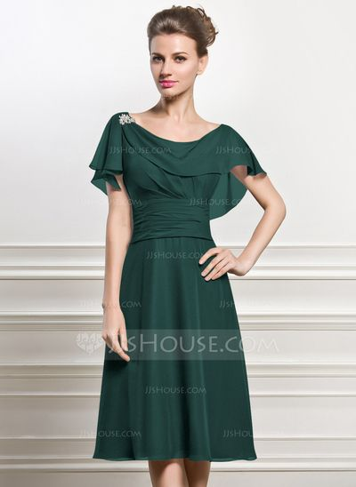 A-Line/Princess Cowl Neck Knee-Length Chiffon Mother of the Bride Dress With Beading Sequins Cascading Ruffles (008056825) - JJsHouse