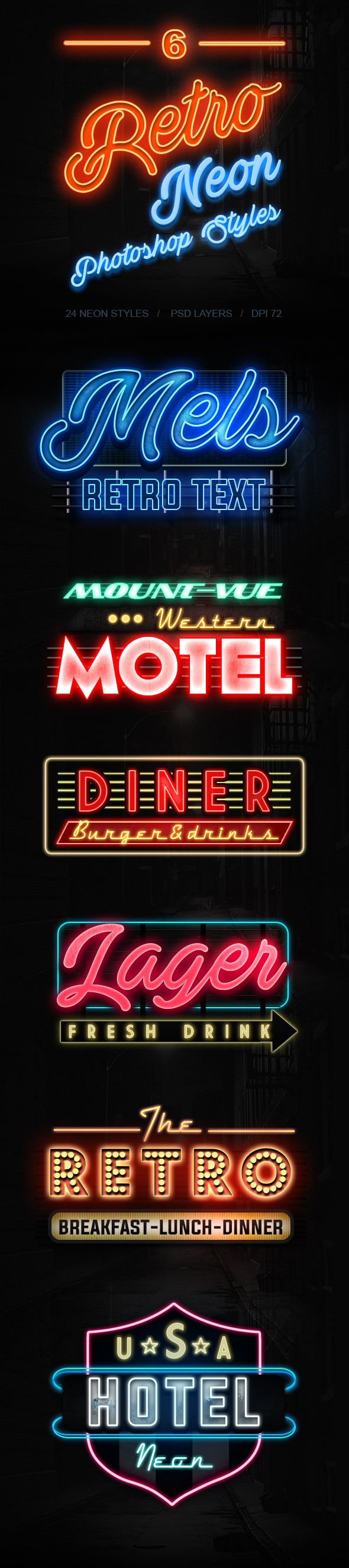 6 Retro Neon Styles for Illustrator. Download here: https://graphicriver.net/item/6-retro-neon-styles/17313857?ref=ksioks