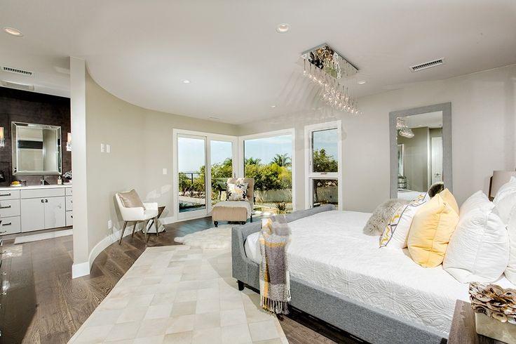 Contemporary Master Bedroom with Pendant light, West Elm Upholstered Sleigh Bed, ET2 Lighting Larmes Multi-Light Pendant