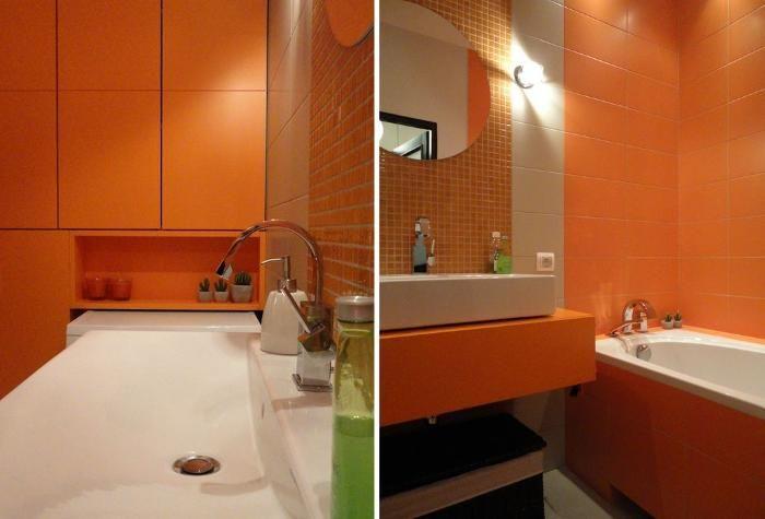 Aranżacja łazienki wystrój nowoczesny w kolorach pomarańcz - projekt wnętrza #1207831, Homplex