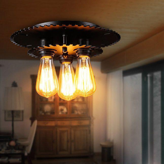 55 best flush mount lighting images on pinterest ceiling lamps industrial 3 light black gear metal semi flush mount exposed bulb retro lamp mozeypictures Gallery