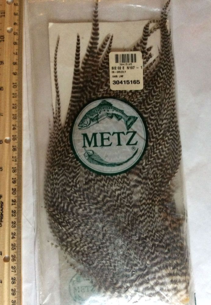 METZ fly tying feathers grizzly hackle fishing supplies, hair extension feathers #METZ