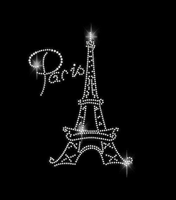 Paris Eiffel Tower Rhinestone Transfer Iron On Bling 34106 via Etsy