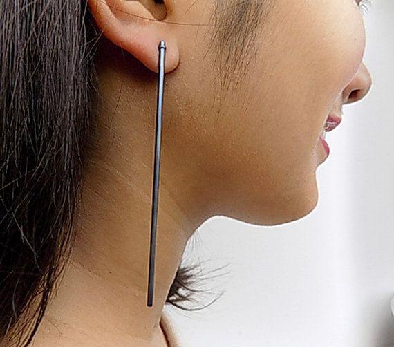titanium earringslong earringsblue earringslight by atermono
