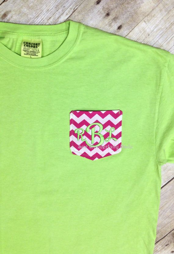 Chevron Pocket Tee YOUTH Sized - Comfort Colors Short Sleeve Monogrammed Chevron Pocket Tee - Monogrammed Youth Tee - Youth Tshirt by sewwonderfullymade4u. Explore more products on http://sewwonderfullymade4u.etsy.com