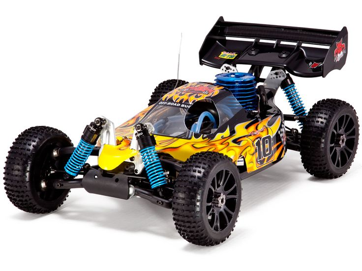Nitro RC cars, which use gas blends instead of batter power, are one of the best options for off-road because of their high power and torque.
