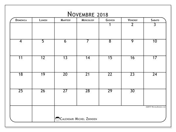Calendario Ottobre 2020 Da Stampare.Calendario Novembre 2018 51ds Calendario 2018