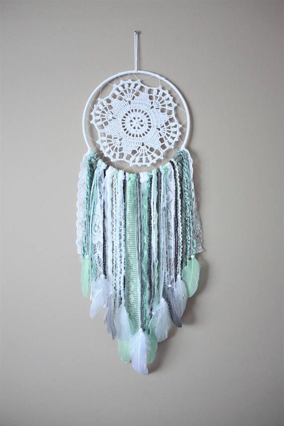 Check out this item in my Etsy shop https://www.etsy.com/ca/listing/515155580/mint-grey-white-dream-catcher-mint-dream