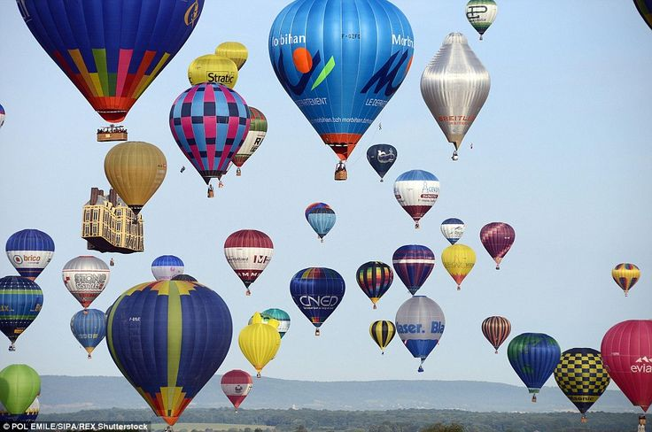 Spectacular: The balloonists were blessed with clear blue skies in France as they took par...