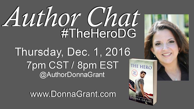 #AuthorChat with @donnagrant1 on #Facebook Thursday, 12/1/16 at 7pm CST / 8 PM EST #TheHeroDG Link to Event: https://www.facebook.com/events/267169100347430/