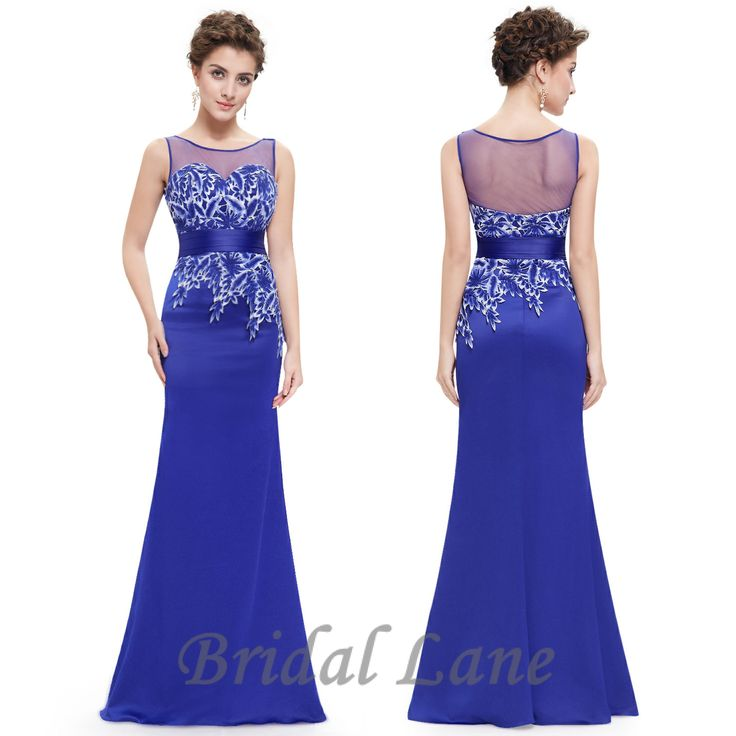 Royal blue evening dresses with illusion neckline for matric ball / matric farewell in Cape Town - Bridal Lane ♥