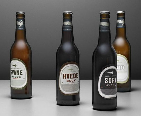 Danish brewery Indslev Bryggeri © Visual identity and label design by Hald Engel, Denmark. Indslev Brewery has specialized in brewing of beer using wheat.