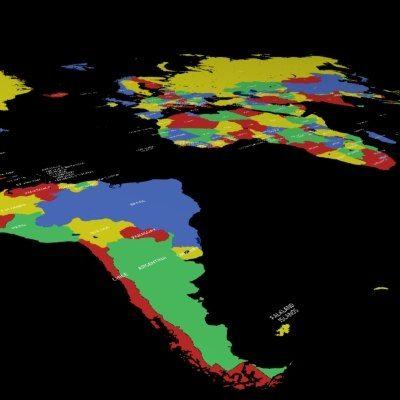 World Country Names 3D Model - 3D Model