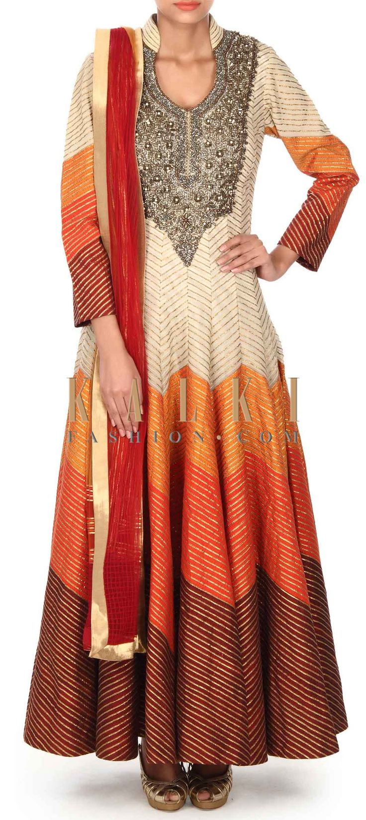 Buy this Cream anarkali suit in gotta lace and zari embroidery only on Kalki
