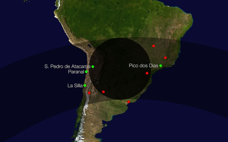 Path of the shadow of Makemake as it crossed the Earth on 23 April 2011. This diagram shows the path of the shadow of the dwarf planet Makemake during an occultation of a faint star in April 2011. Several sites in South America, including ESO's La Silla and Paranal Observatories, saw the star disappear briefly as its light was blocked by Makemake.