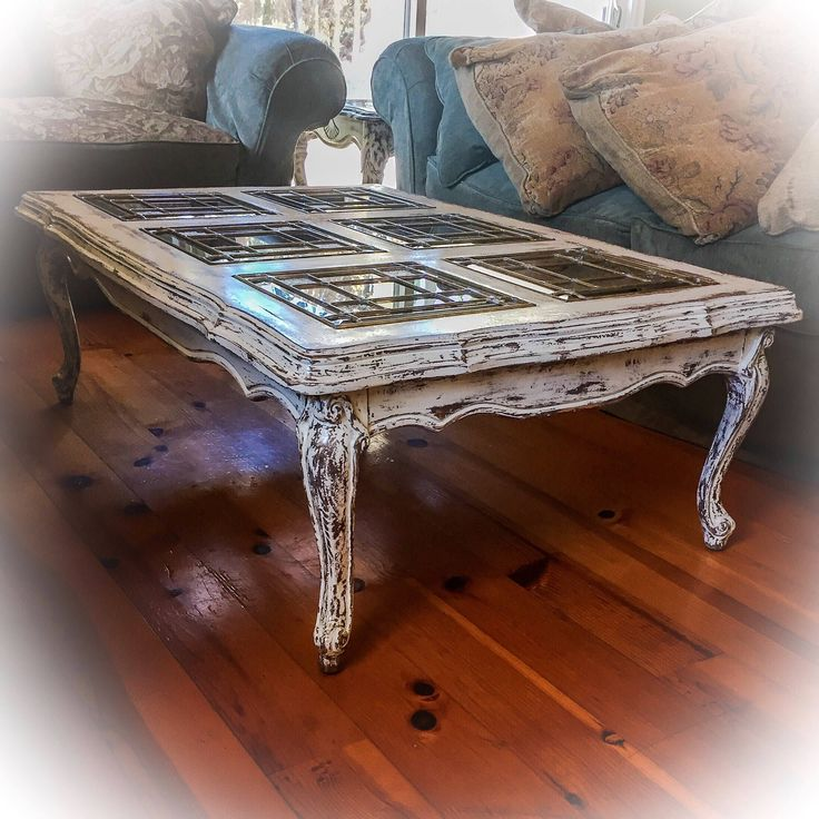 SOLD - Matching, French, Glass Top Coffee Table & Antique Sofa Table Set, white, distressed coffee tables, shabby chic, farmhouse, rustic by ReincarnatedwithLove on Etsy https://www.etsy.com/listing/535141723/sold-matching-french-glass-top-coffee