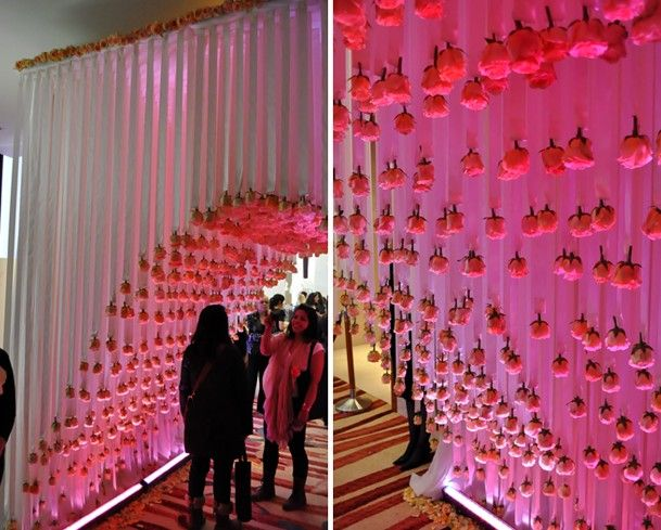 pink-wedluxe-entrance-hanging-ribbon-roses-archway