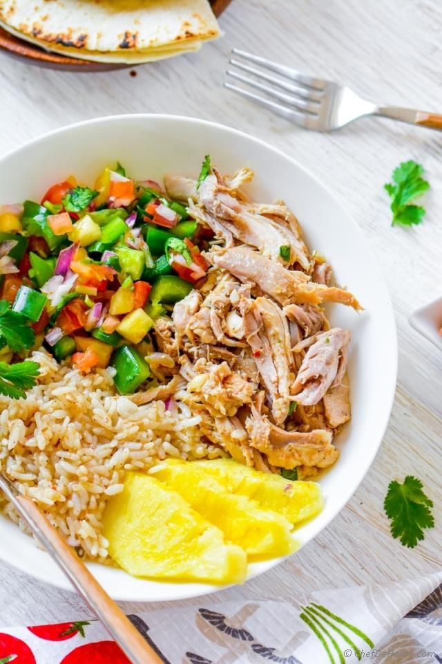 Slow Cooker Mojo Chicken and Rice Bowl