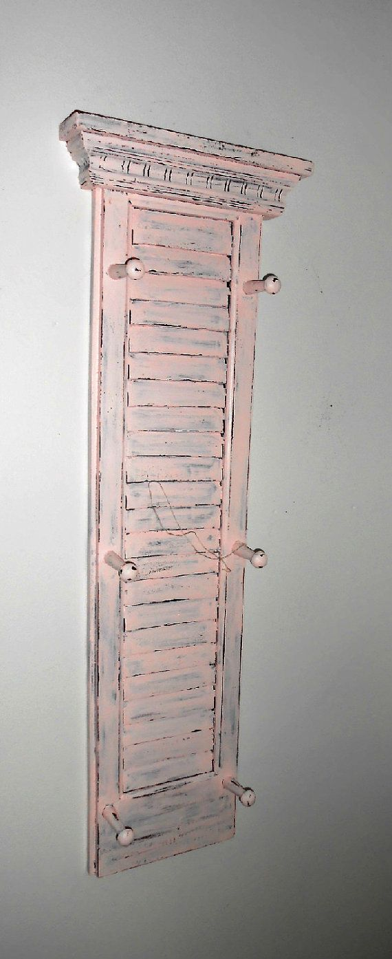 Upcycled, Distressed Window Shutter, Pink, Peg Hooks, Wood, Hand Painted, Shabby Chic