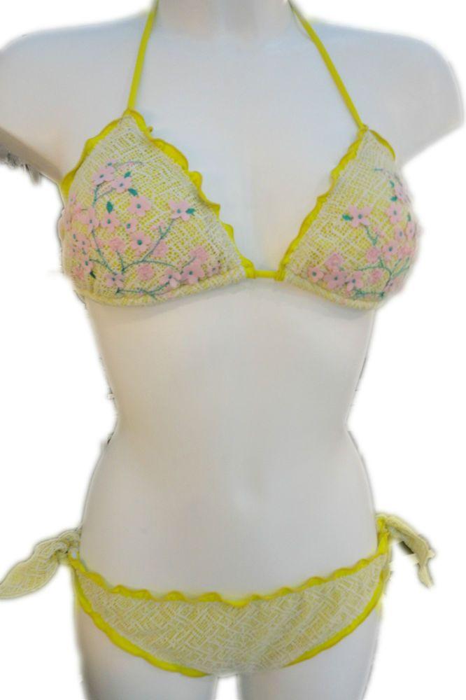 Bikini Olivia Gold Pink 2016 Costume da Bagno Donna Triangolino applique fiori
