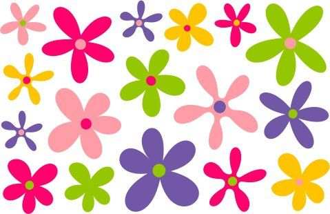 Farebné nálepky na stenu KVETY www.bqtrade.sk