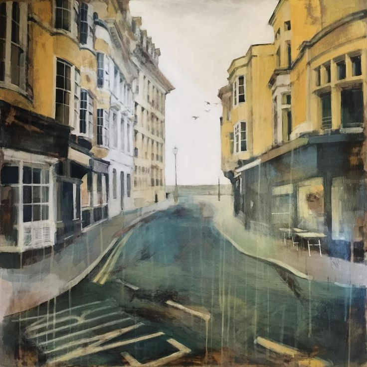Brighton, Kings Road, original painting, Camilla Dowse, art, acrylic, gesso, gallery, street, road, birds, Sussex, sea, UK, England © copyright Camilla Dowse