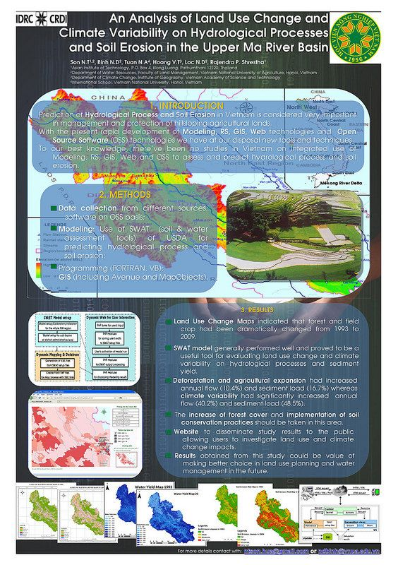Vietnam National University of Agriculture: Using new technologies to predict hydrological processes and soil erosion in Vietnam   This poster describes a joint research project which looked at how new technologies can be used to assess and predict hydrological processes and soil erosion.   The project focused on the upper Ma river basin in Vietnam. It gathered data from a range of sources and applied open source software and modelling tools to the information.   The results showed forest…