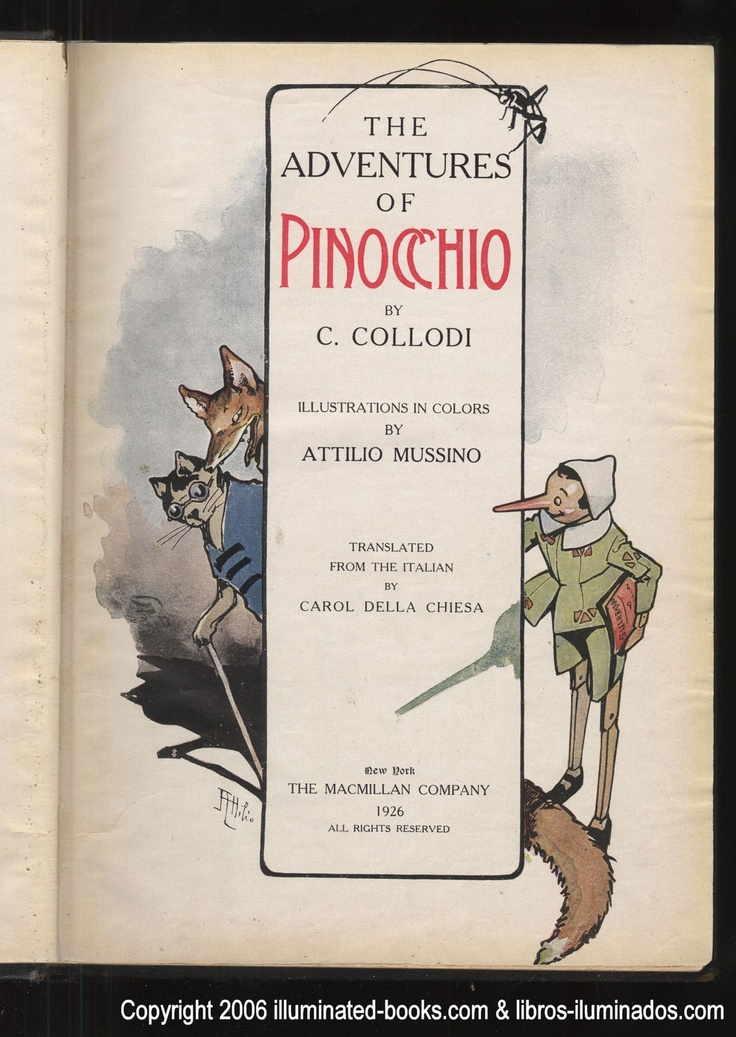 Pinocchio written by Carlo Collodi, illustration by Attilio Mussino