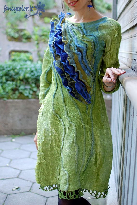 Check out this item in my Etsy shop https://www.etsy.com/listing/526917844/elegant-felt-dress-green-blue-wave