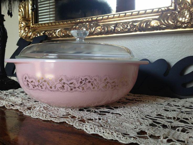 Pyrex Duchess Casserole 024 - 2 Quart - Pink with Gold Floral baking dish #Pyrex: $935