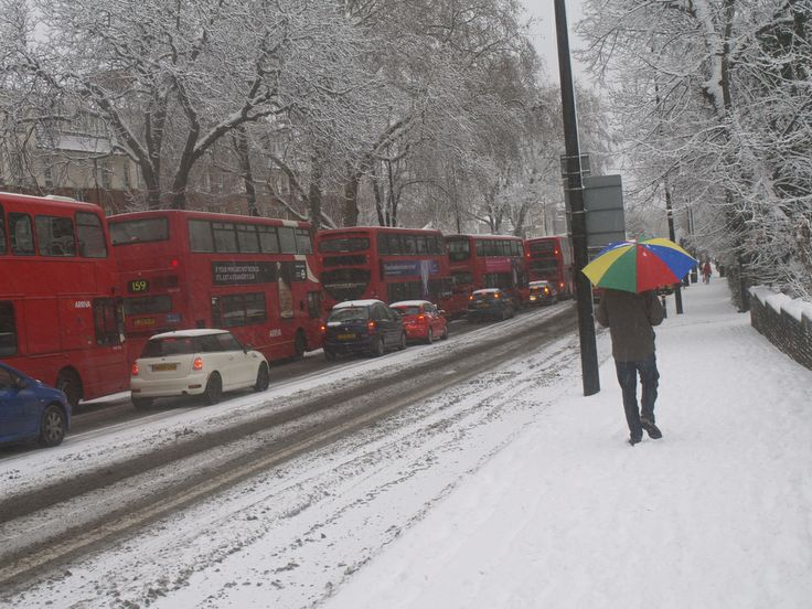 December 18, 2010: London buses in Brixton Hill snow