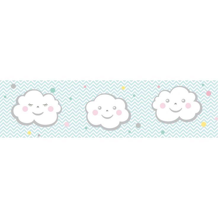 Bordüre Wolkenkinder mint/grau, selbstklebend