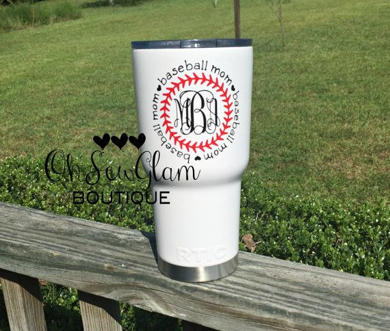 Baseball Mom - Baseball Tumbler - Baseball Monogram - Monogram Waterbottle - Monogram Decal - Rtic Tumbler - White Cup - 30oz Tumbler 30oz. RTIC cups are comparable to the YETI cups. 30oz. RTIC Tumblers are stainless steel, double wall vacuum insulated. Keep your drinks ice cold longer - works great for hot beverages. The crystal clear lid lets you know exactly how much drink you have. Easy to clean. *Please leave your monogram youd like added in the notes section at checkout in this order…