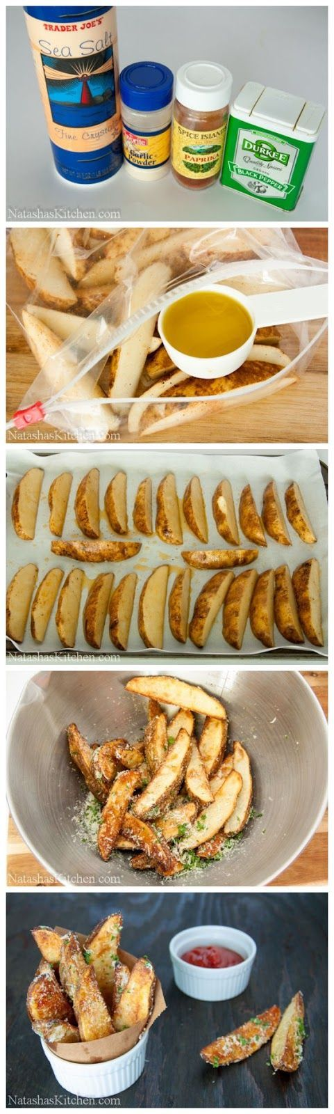 Oven Baked Potato Wedges Recipe Ingredients: 4 russet potatoes 1/4 cup extra virgin olive oil 1/4 tsp sea salt or kosher salt 1/4 tsp garlic powder 1/4 tsp paprika 1/4 tsp black pepper 2 Tbsp chopped fresh parsley leaves 1/4 cup parmesan cheese
